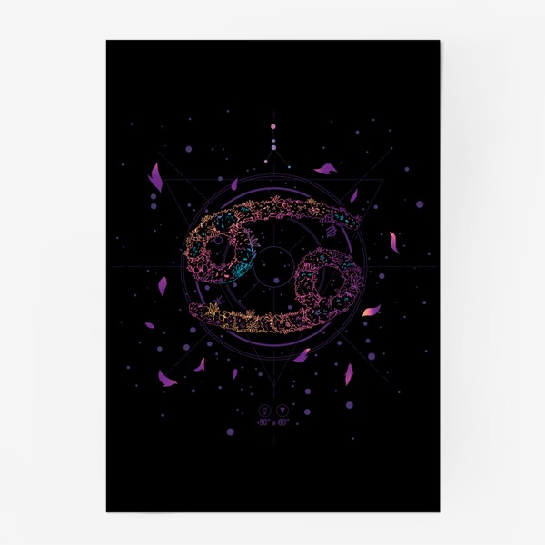 Постер «Цветочный Знак Зодиака Рак»