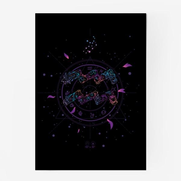 Постер «Цветочный Знак Зодиака Водолей»