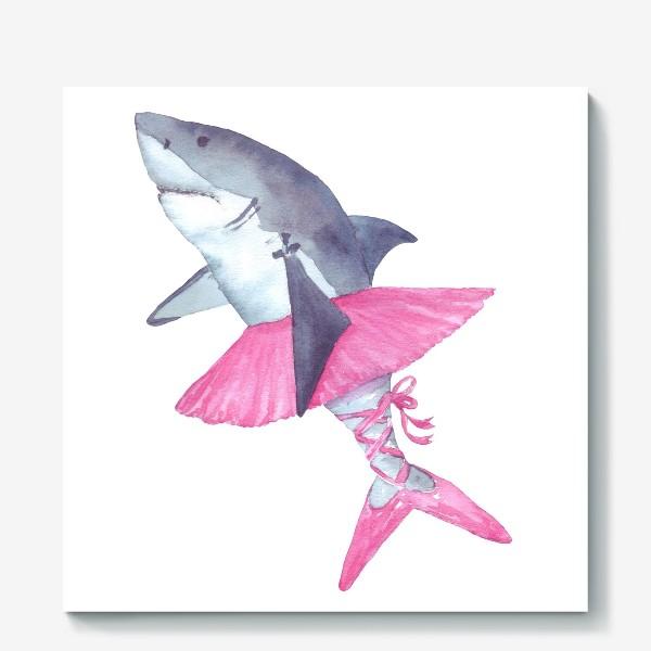 Холст «Акула балерина в розовой пачке и пуантах»