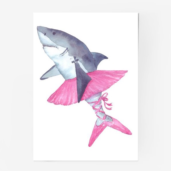 Постер «Акула балерина в розовой пачке и пуантах»