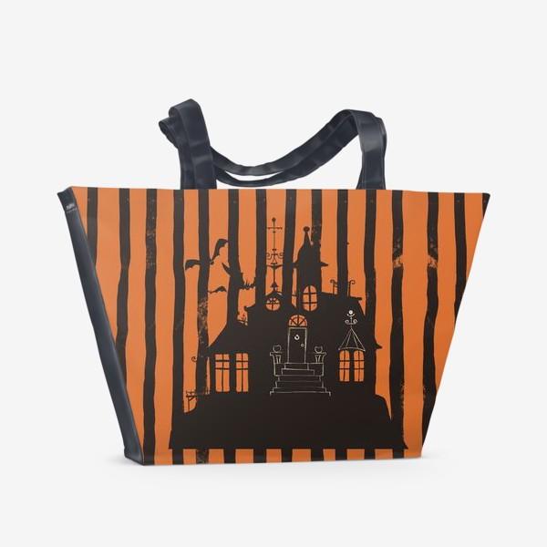 Пляжная сумка «Хэллоуин, замок»