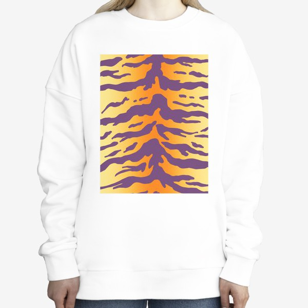 Свитшот «Яркий тигровый паттерн. Фиолетовые полоски на желтом фоне»