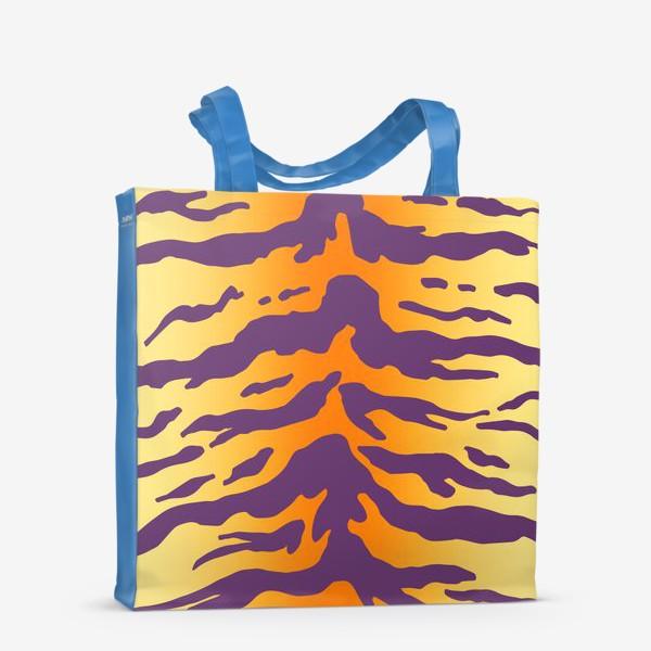 Сумка-шоппер «Яркий тигровый паттерн. Фиолетовые полоски на желтом фоне»