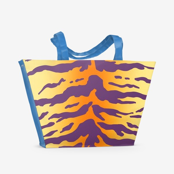 Пляжная сумка «Яркий тигровый паттерн. Фиолетовые полоски на желтом фоне»