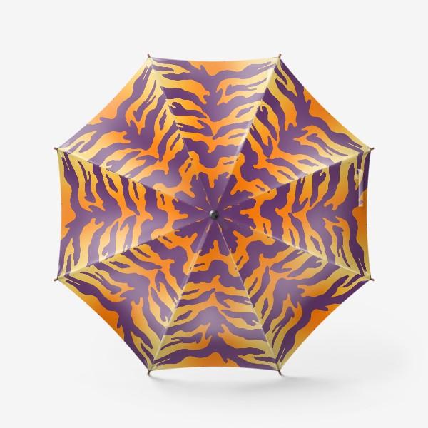 Зонт «Яркий тигровый паттерн. Фиолетовые полоски на желтом фоне»