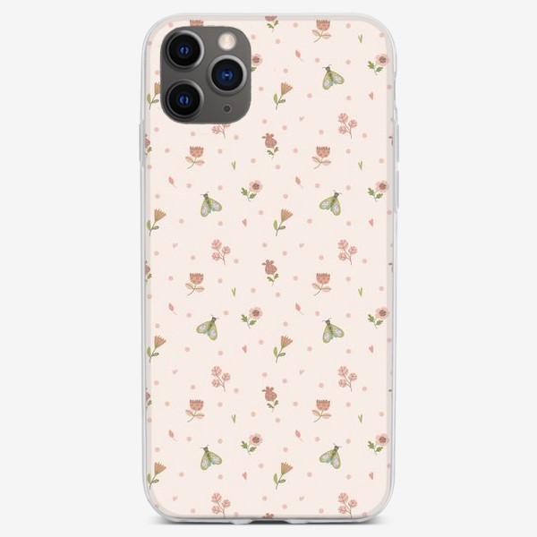 Чехол iPhone «Бесшовный паттерн. мотыльки и лужок»