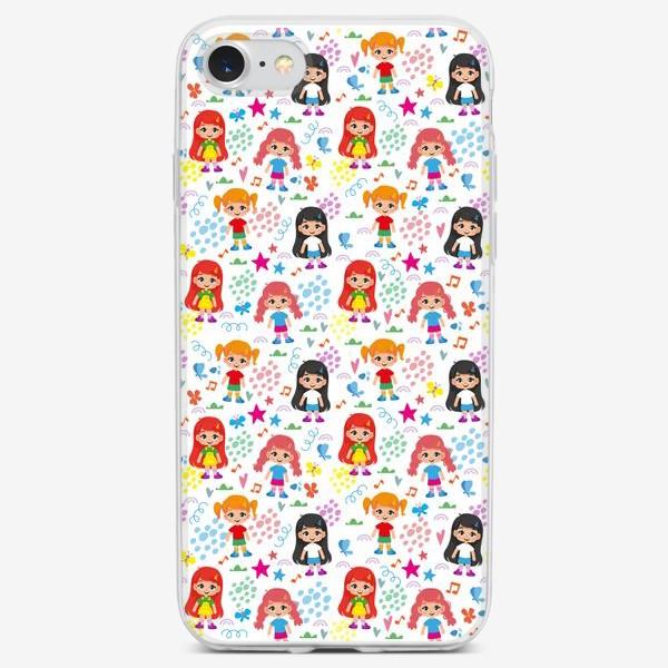 Чехол iPhone «Бесшовный паттерн с веселыми девченками (мелко)»