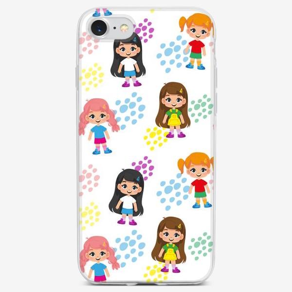 Чехол iPhone «Бесшовный паттерн с веселыми девченками (крупно)»