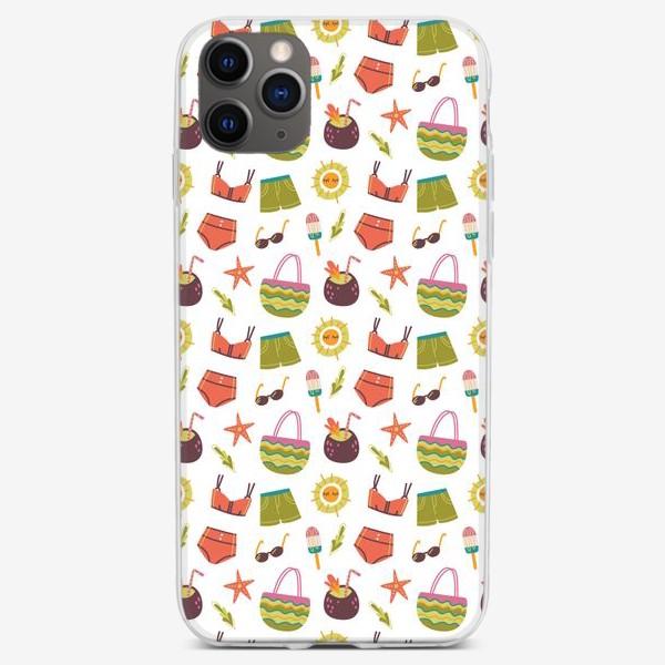 Чехол iPhone «Бесшовный паттерн с элементами лета и отпуска»