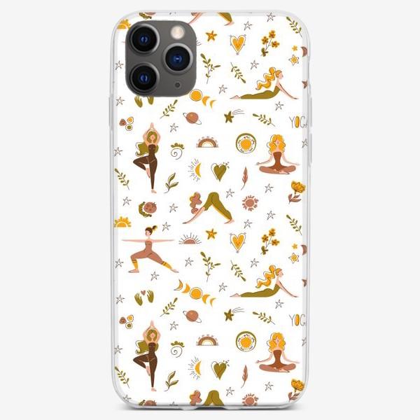 Чехол iPhone «Бесшовный паттерн. Йога сканди»