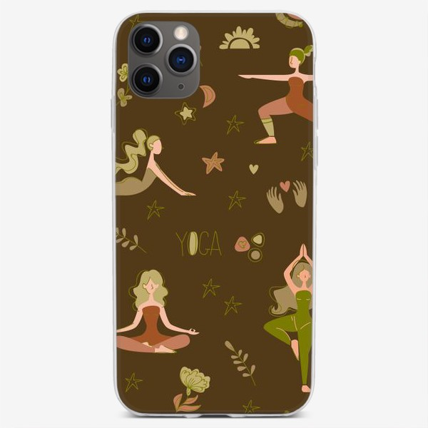 Чехол iPhone «Бесшовный паттерн. Йога (крупно)»