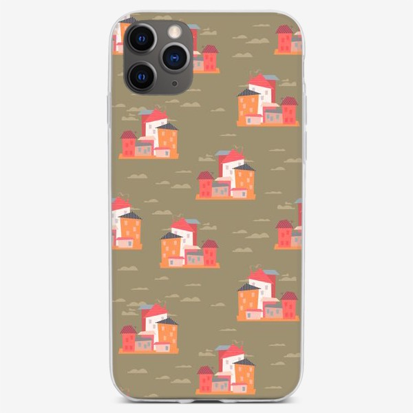 Чехол iPhone «Бесшовный паттерн. Город (бежевый)»