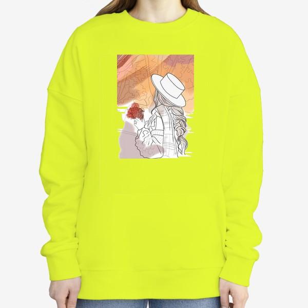 Свитшот «осень девушка фэшн абстракция листья»