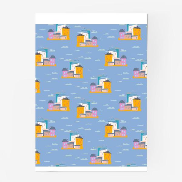 Постер «Бесшовный паттерн, дома на голубом фоне»