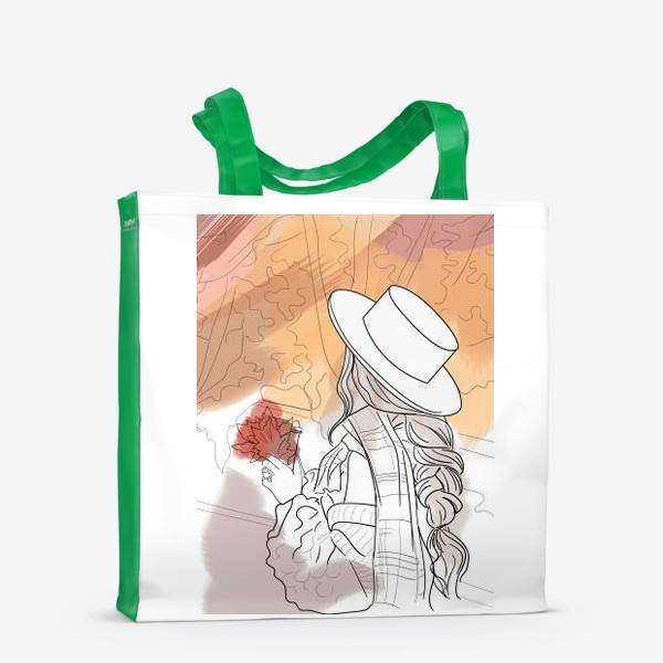 Сумка-шоппер «осень девушка фэшн абстракция листья»