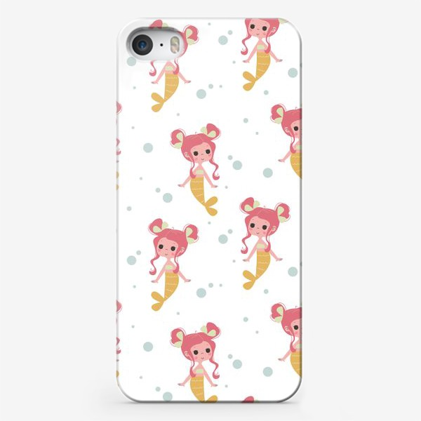 Чехол iPhone «Бесшовный паттерн. Русалочки с розовыми волосами»