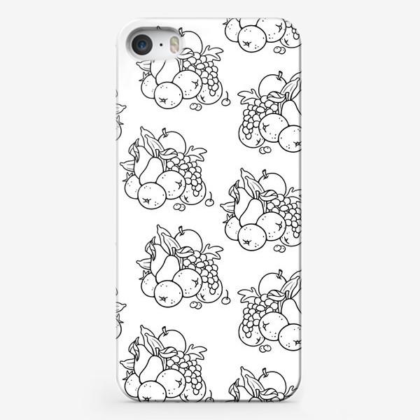 Чехол iPhone «Бесшовный паттерн. Гора фруктов ч/б»