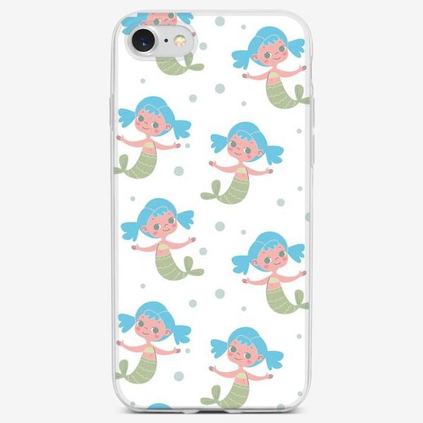 Чехол iPhone «Бесшовный паттерн с милыми русалочками»