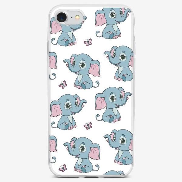 Чехол iPhone «Бесшовный паттерн с веселыми слонятами»