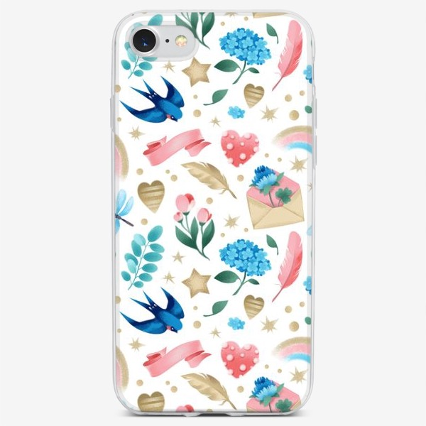 Чехол iPhone «Бесшовный паттерн. Романтика, ласточки, конверты, стрекозы и цветы»