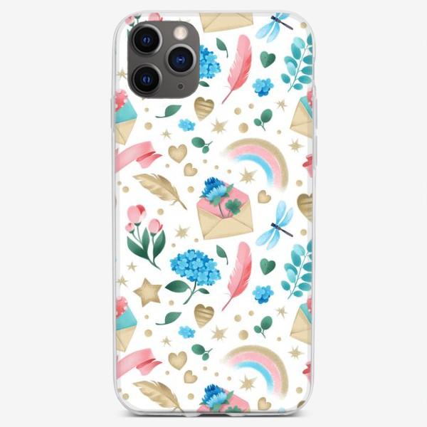 Чехол iPhone «Бесшовный паттерн. Романтика, перья, конверты, стрекозы и цветы»