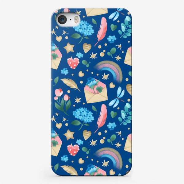 Чехол iPhone «Бесшовный паттерн. Цветы и любовные письма на синем фоне»