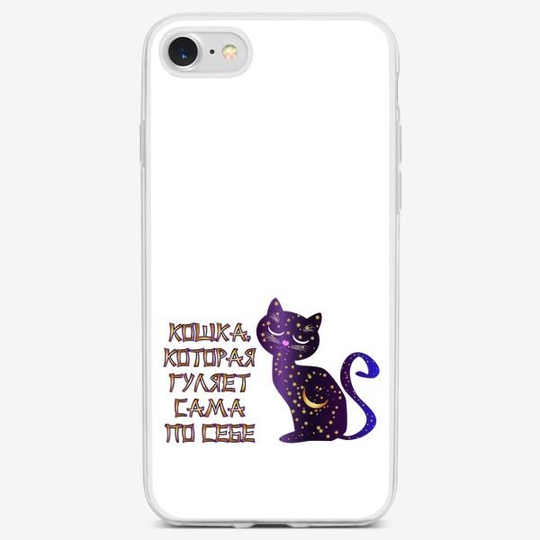 Чехол iPhone «Надпись в японском стиле и Кошка-ночь»
