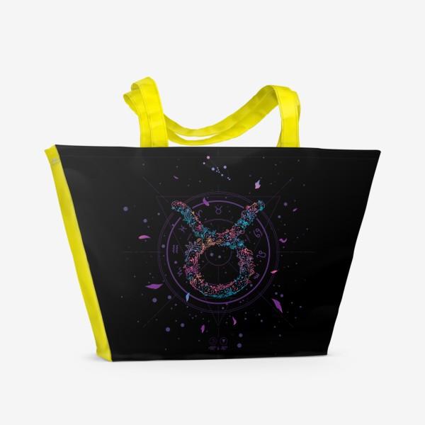 Пляжная сумка «Цветочный Знак Зодиака Телец»