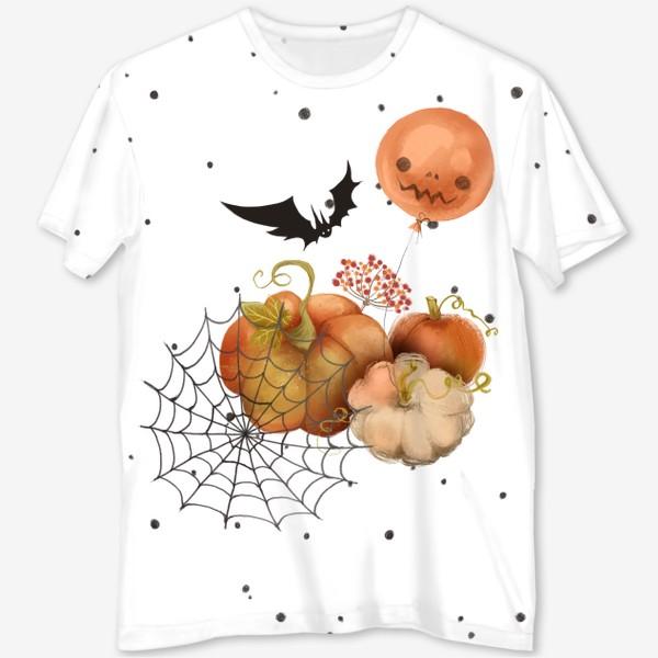 Футболка с полной запечаткой «Хэллоуин, тыква»