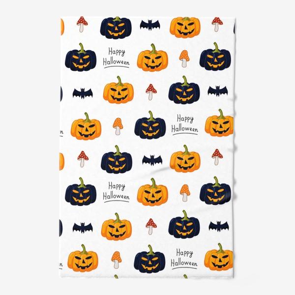 Полотенце «Красочный паттерн для праздника Хеллоуин с тыквами и летучими мышами»