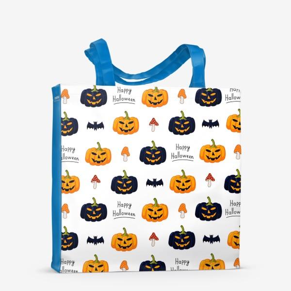 Сумка-шоппер «Красочный паттерн для праздника Хеллоуин с тыквами и летучими мышами»