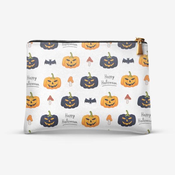 Косметичка «Красочный паттерн для праздника Хеллоуин с тыквами и летучими мышами»