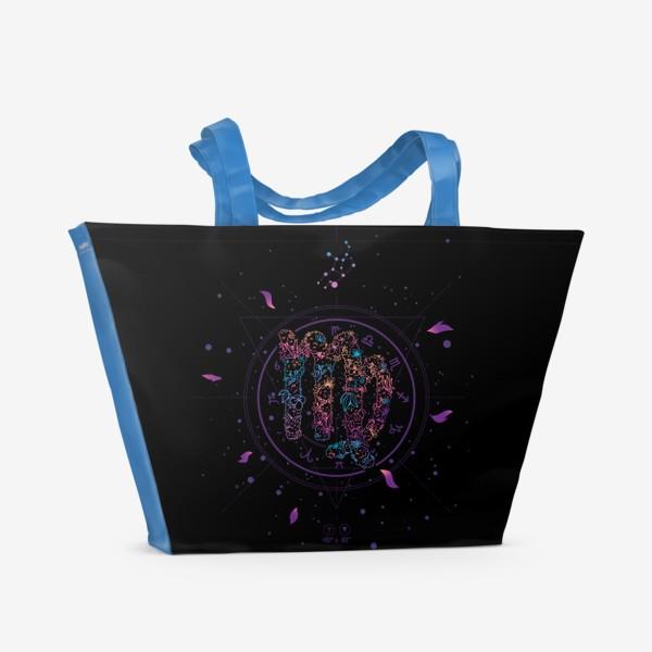 Пляжная сумка «Цветочный Знак Зодиака Дева»
