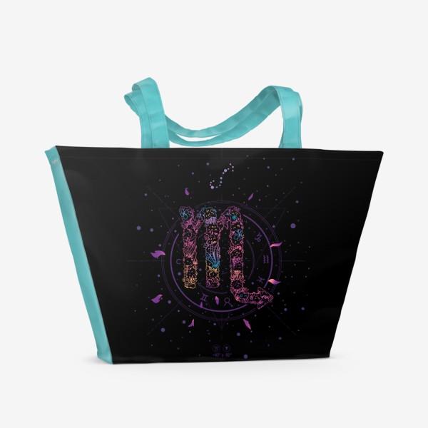 Пляжная сумка «Цветочный Знак Зодиака Скорпион»