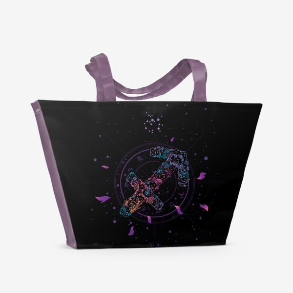 Пляжная сумка «Цветочный Знак Зодиака Стрелец»