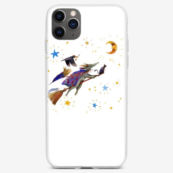 Чехол iPhone «Сказочные существа летят на метле. Волк, ворон, кошка и крыска.»