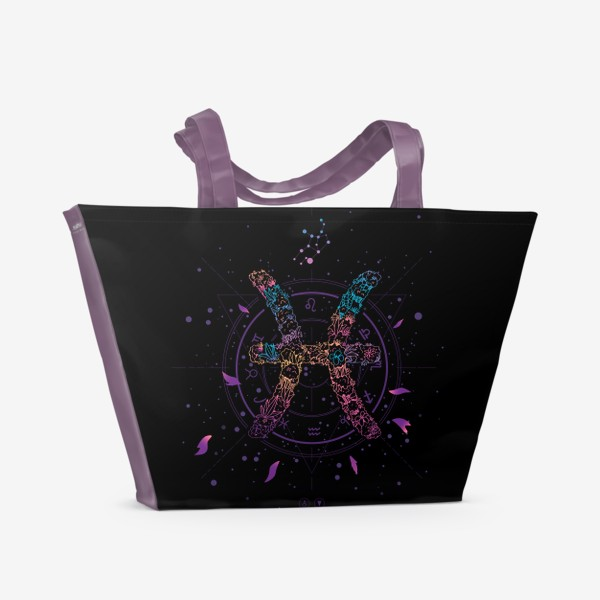 Пляжная сумка «Цветочный Знак Зодиака Рыбы»