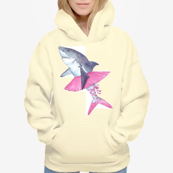 Худи «Акула балерина в розовой пачке и пуантах»