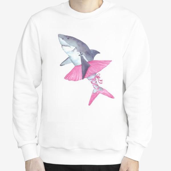 Свитшот «Акула балерина в розовой пачке и пуантах»