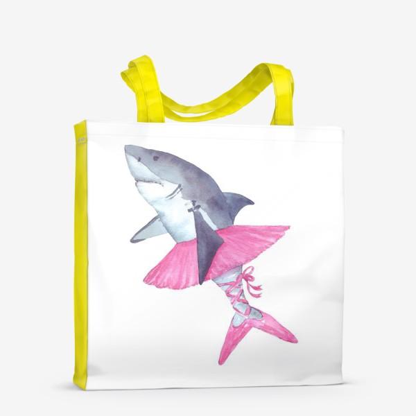 Сумка-шоппер «Акула балерина в розовой пачке и пуантах»