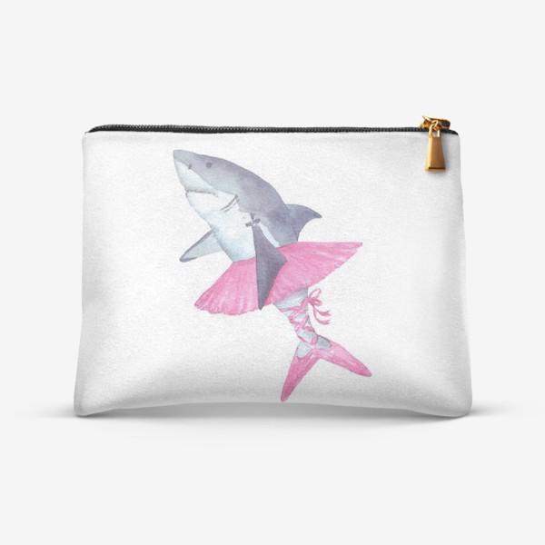 Косметичка «Акула балерина в розовой пачке и пуантах»