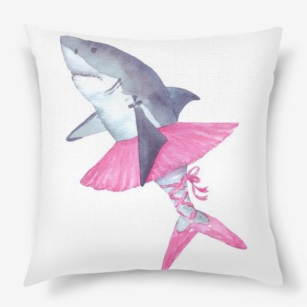 Подушка «Акула балерина в розовой пачке и пуантах»