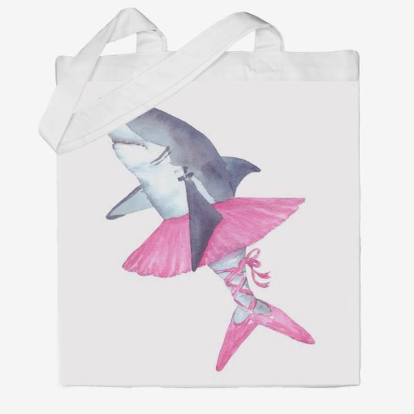 Сумка хб «Акула балерина в розовой пачке и пуантах»