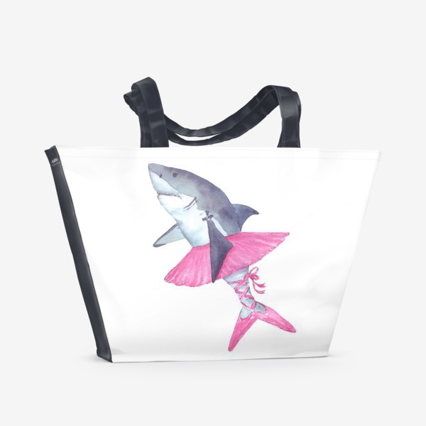 Пляжная сумка «Акула балерина в розовой пачке и пуантах»