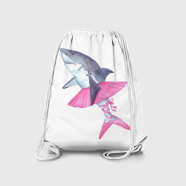 Рюкзак «Акула балерина в розовой пачке и пуантах»
