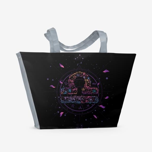 Пляжная сумка «Цветочный Знак Зодиака Весы»