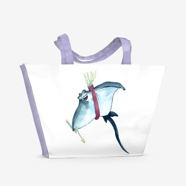 Пляжная сумка «Скат с молниями - стрелами и колчаном»