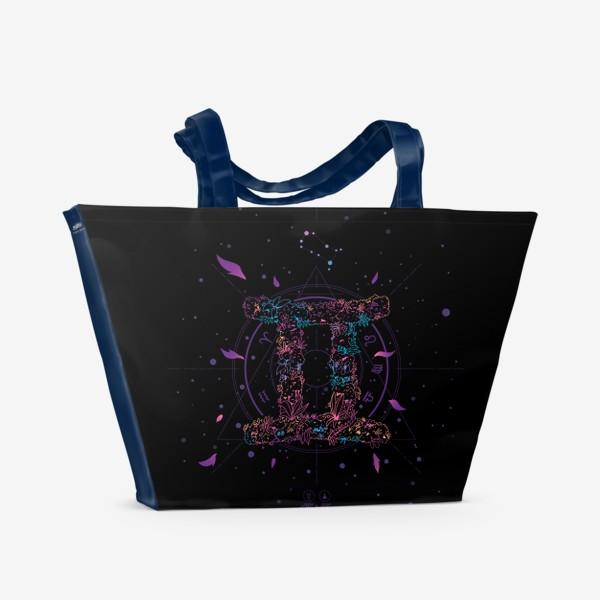 Пляжная сумка «Цветочный Знак Зодиака Близнецы»