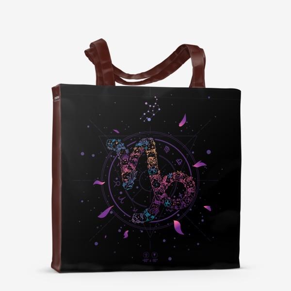 Сумка-шоппер «Цветочный Знак Зодиака Козерог»
