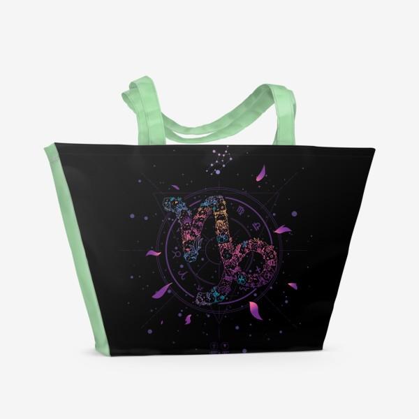 Пляжная сумка «Цветочный Знак Зодиака Козерог»